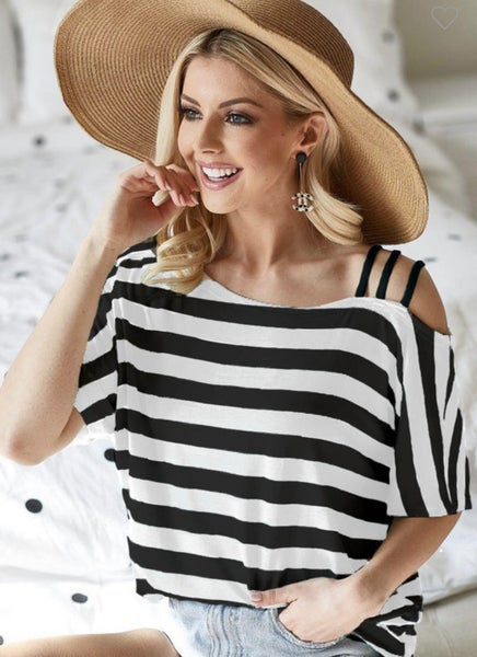STRIPED RAYON TOP WITH BLACK STRAP SHOULDER DETAIL
