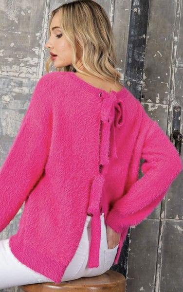 OPEN BACK TIE FAUX FUR SWEATER IN HOT PINK