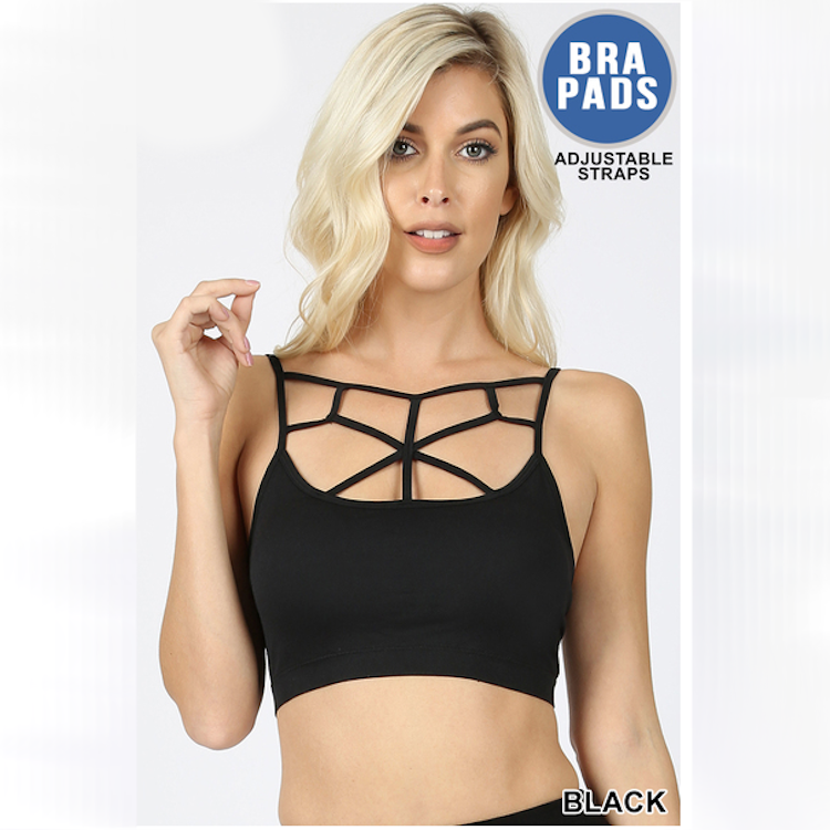 SEAMLESS WEB BRALETTE WITH REMOVABLE BRA PADS
