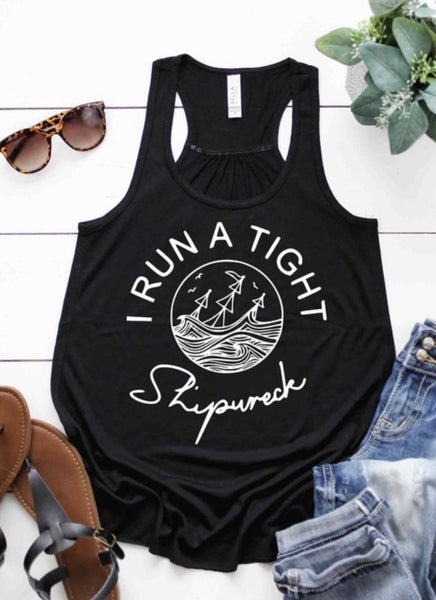 SHIPWRECK GRAPHIC FLOWY TANK TOP IN BLACK
