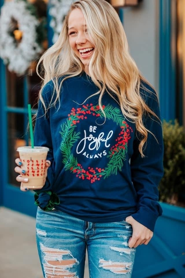 JOYFUL WREATH NAVY LONG SLEEVE TOP
