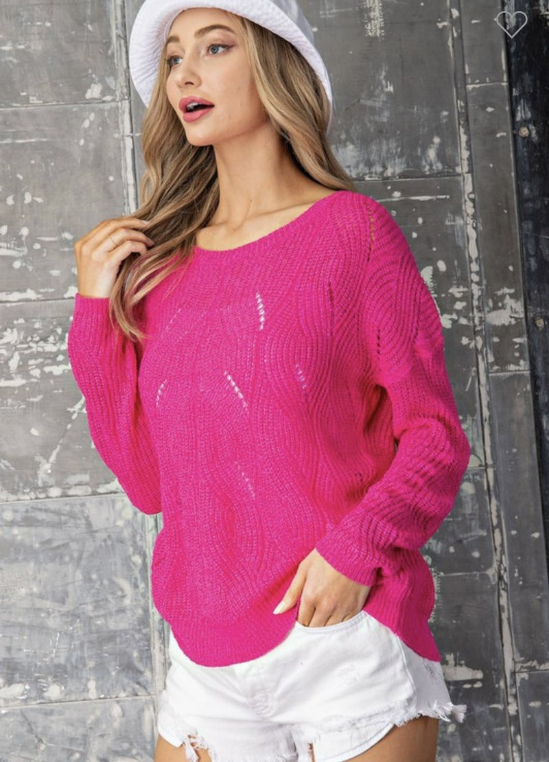 Pointelle Cable Knit Hot Pink Sweater