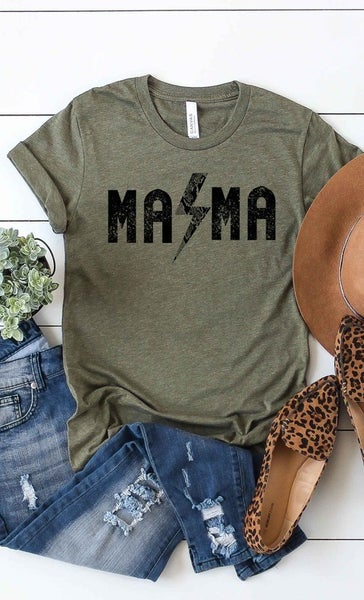 OLIVE ROCK N ROLL MAMA GRAPHIC TEE