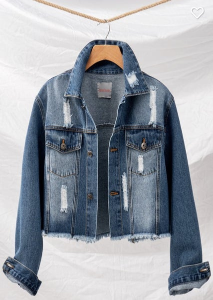 DISTRESSED SHORT DENIM JACKET