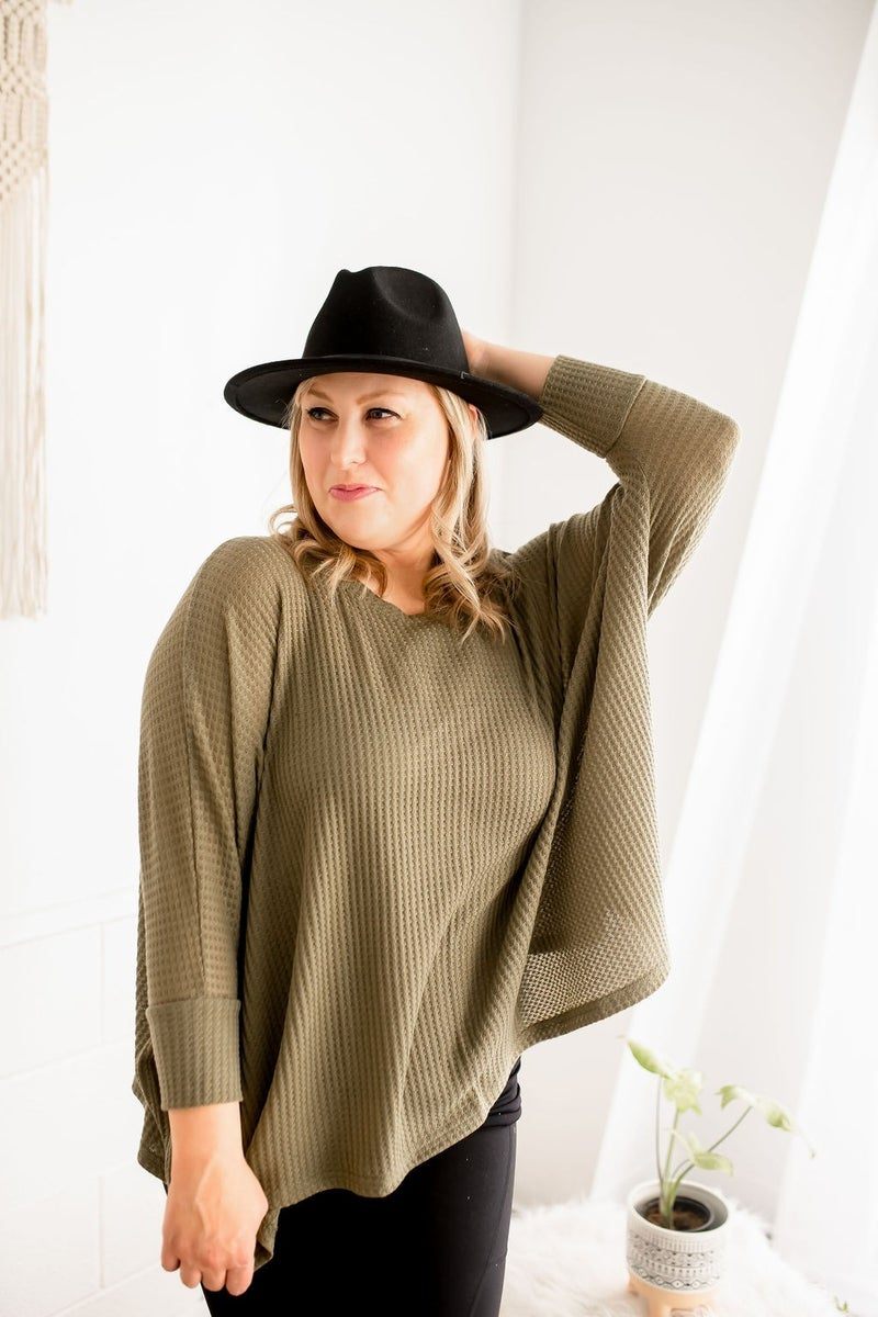 OLIVE CHILL RIBBED TUNIC TOP