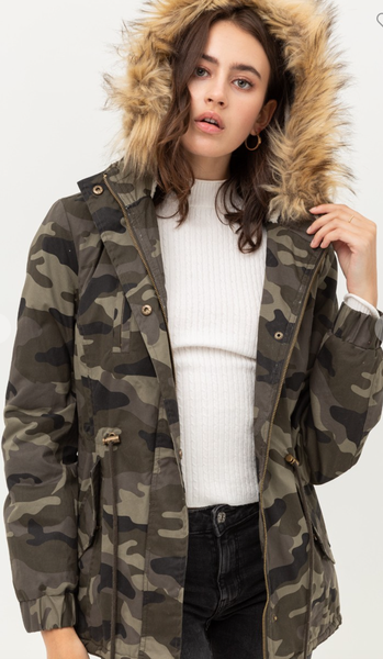 CAMO PILE LINED FAUX FUR HOODED JACKET