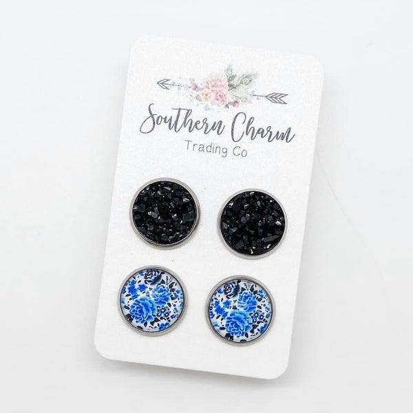 DRUZYS & BLUE ROSES EARRINGS