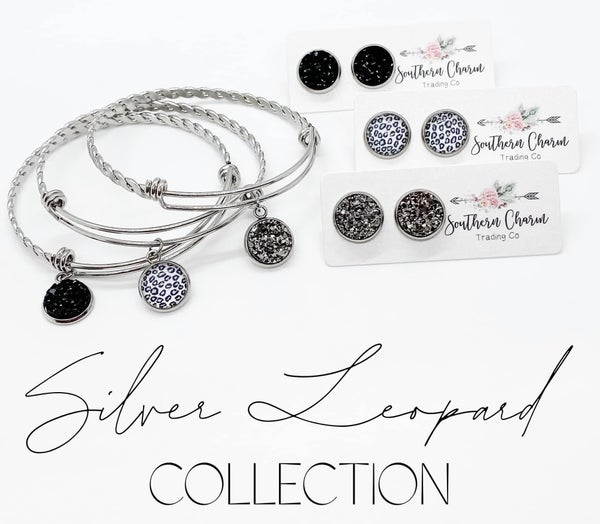 SILVER LEOPARD COLLECTION- BRACELETS & EARRINGS
