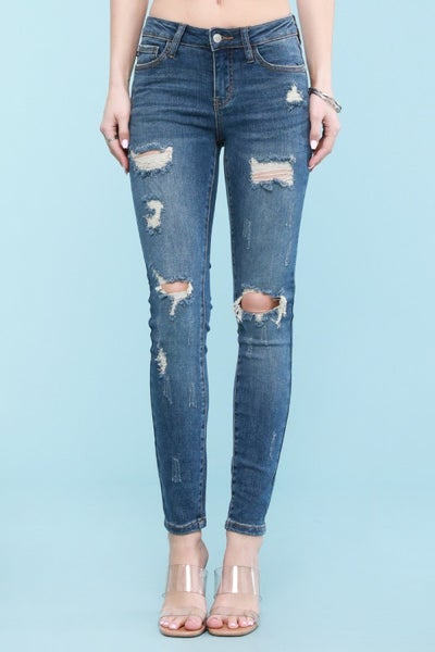 JUDY BLUE MIDRISE DESTROYED SKINNY JEAN