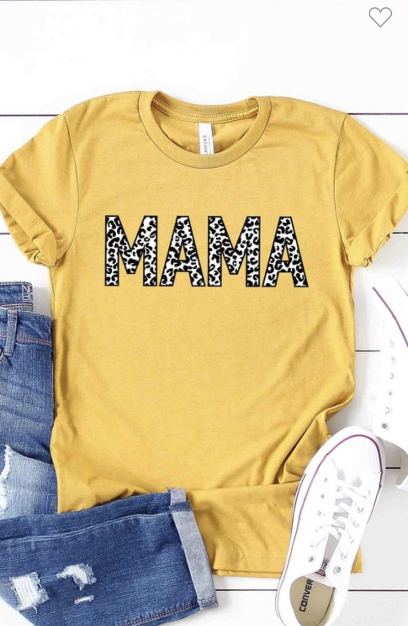 LEOPARD MAMA GRAPHIC TEE IN MUSTARD
