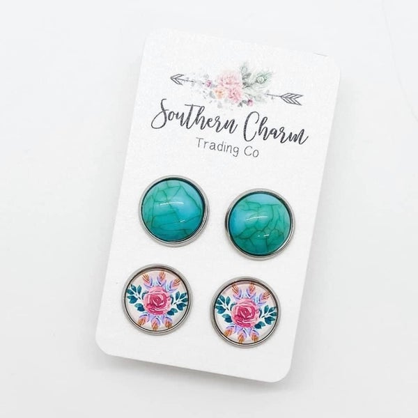 TURQUOISE & ROSES EARRINGS SET