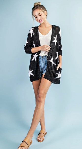 STAR PATTERN OPEN CARDIGAN IN BLACK