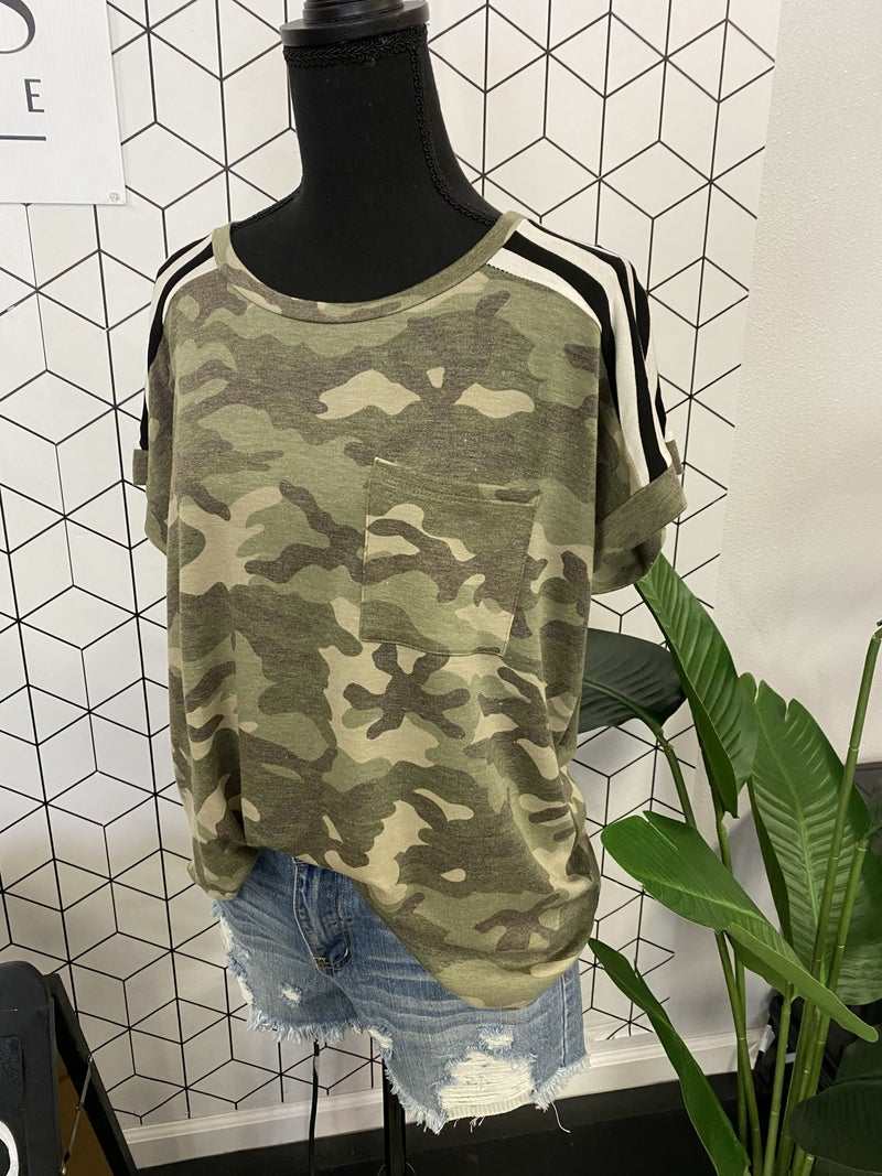 Camo & Stripes Pocket Short Sleeve Tee