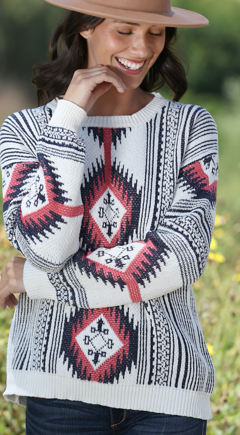 AZTEC PATTERNED KNITTED SWEATER
