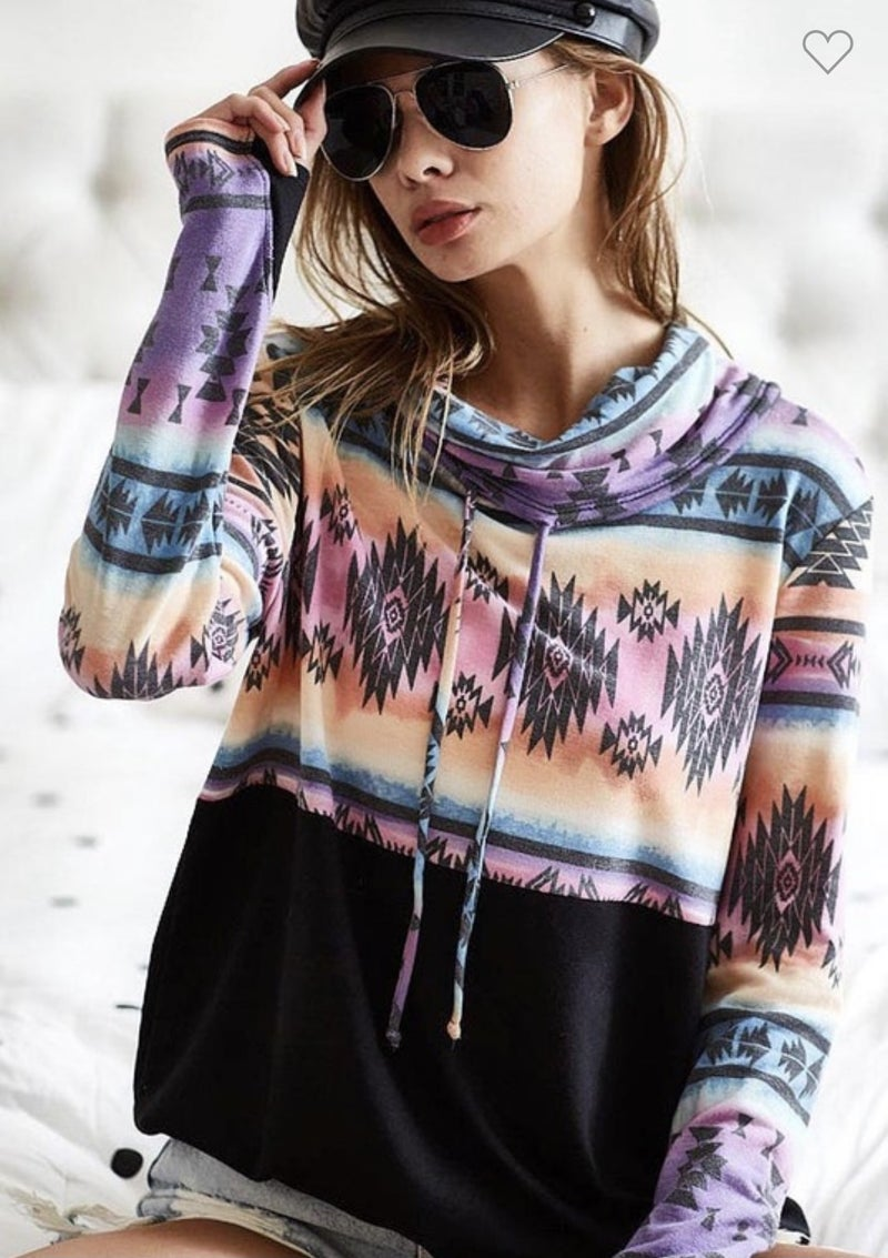 AZTEC PRINT COWL NECK TOP WITH DRAWSTRINGS