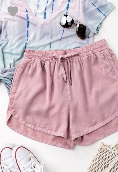 MAUVE TENCEL DRAWSTRING SHORTS