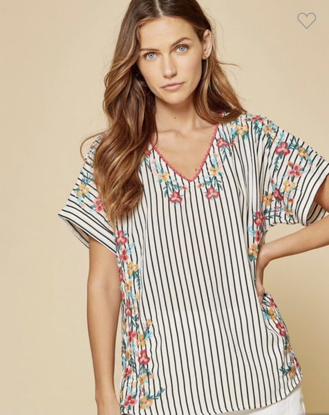Enchanting Floral Striped Top