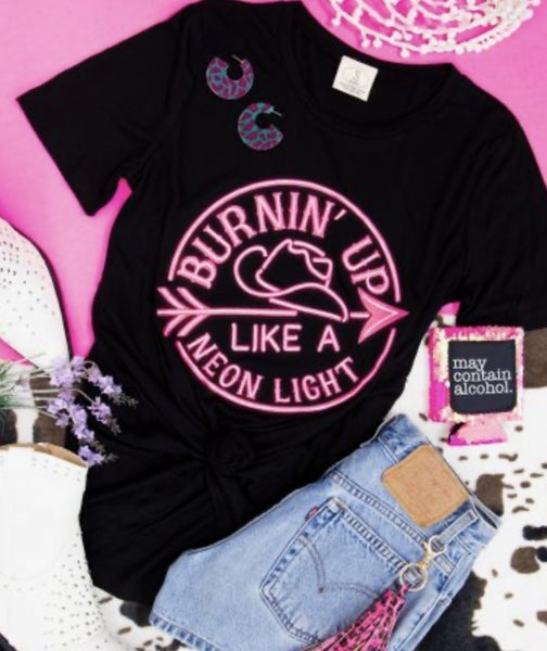 BURNING UP LIKE A NEON LIGHT GRAPHIC TEE