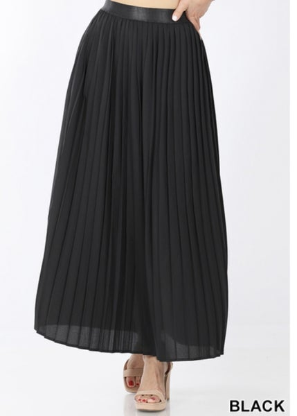 WOVEN DOBBY HIGH WAISTED PLEATED SKIRT