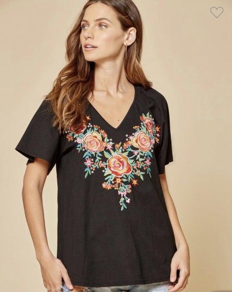 Black Floral Embroidered V-Neck Top