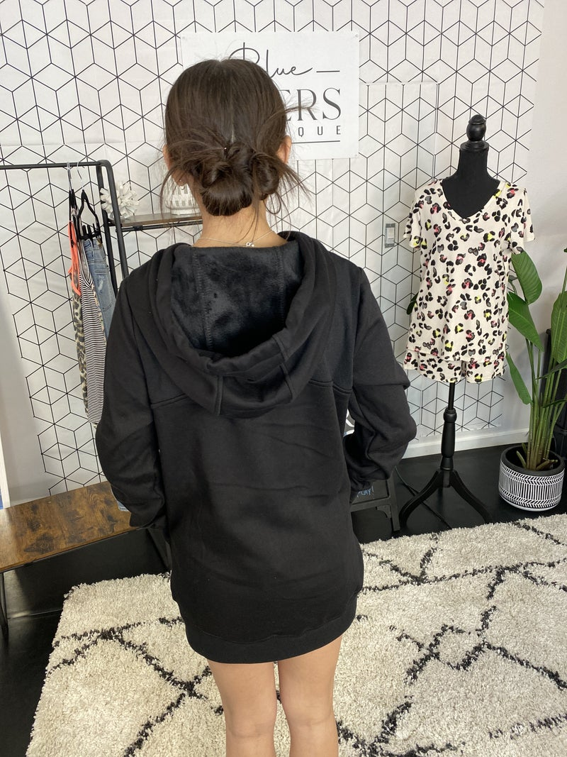 TERRY KNIT HOODIE WITH THUMBHOLES
