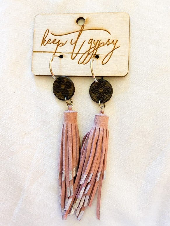 LV UPCYCLED PINK FRINGE EARRINGS