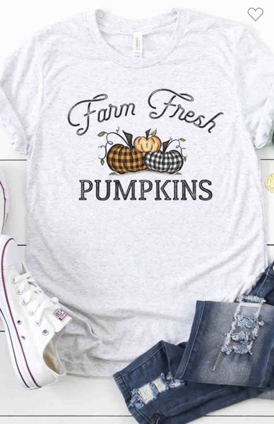 FARM FRESH PLAID PUMPKINS - ASH GREY BELLA & CANVAS