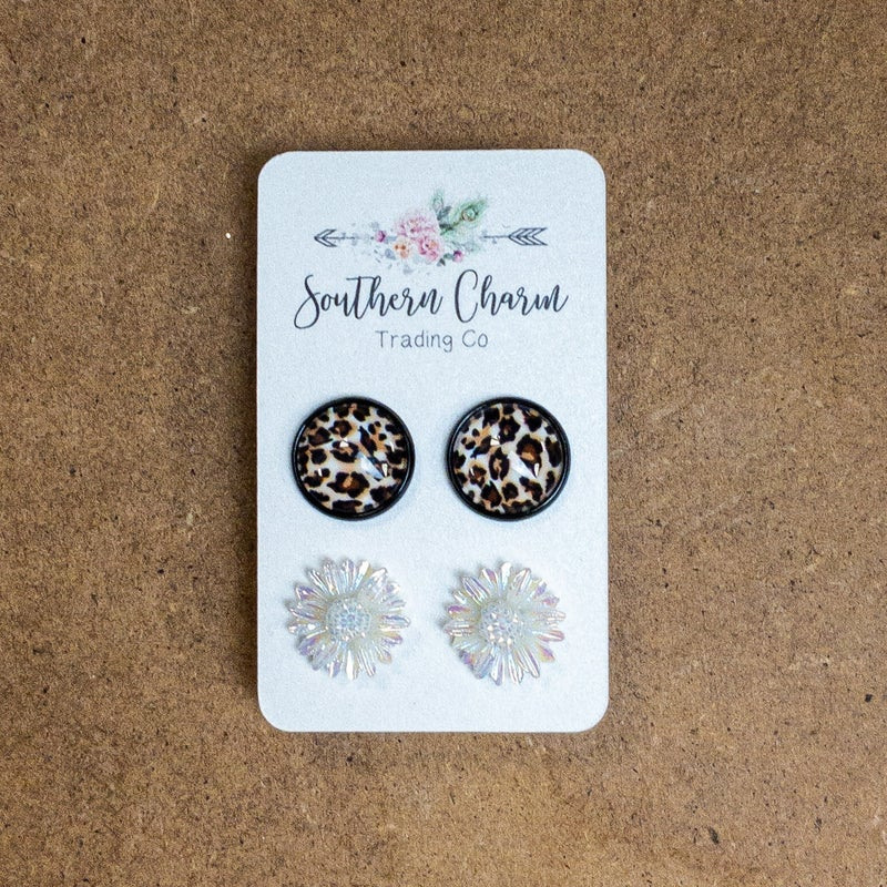 LEOPARD DAISY EARRINGS