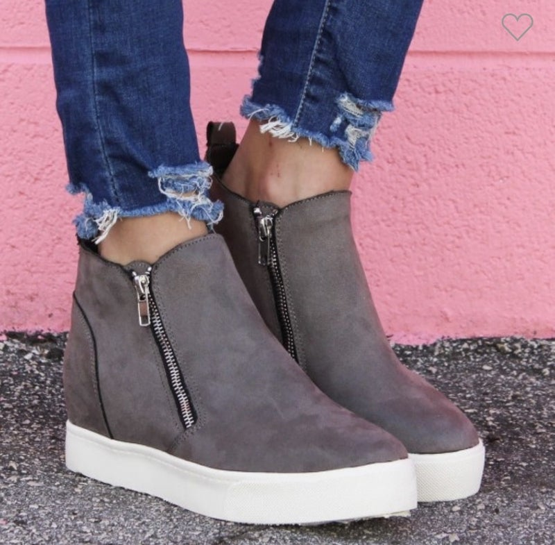 WOMENS GREY ANKLE ZIP UP WEDGE SNEAKERS