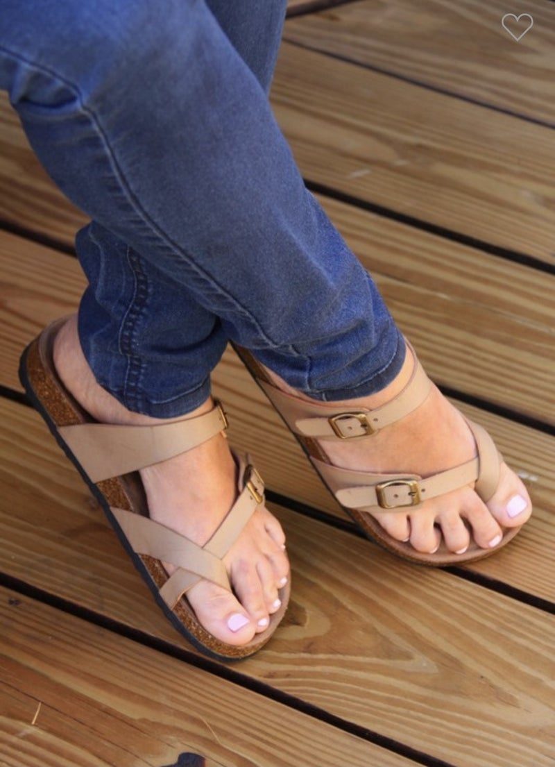 TAUPE FOOTBED SANDALS