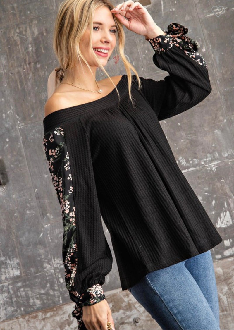 SATIN FLORAL SLEEVE OFF THE SHOULDER THERMAL TOP