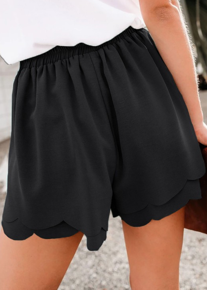 SCALLOPED TIE FRONT WOVEN WOMENS SHORTS
