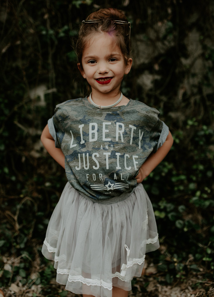 LIBERTY AND JUSTICE CAMO YOUTH TEE