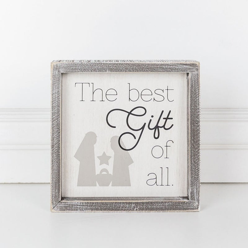 BEST GIFT WOOD SIGN 8x8""