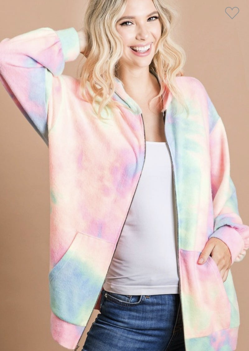 BRUSHED TIE DYE PRINT TERRY ZIP UP JACKET