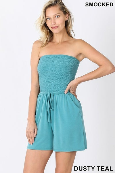 SMOCKED TUBE ROMPER WITH POCKETS