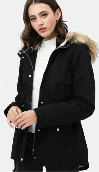 BLACK PILE LINED FAUX FUR JACKET