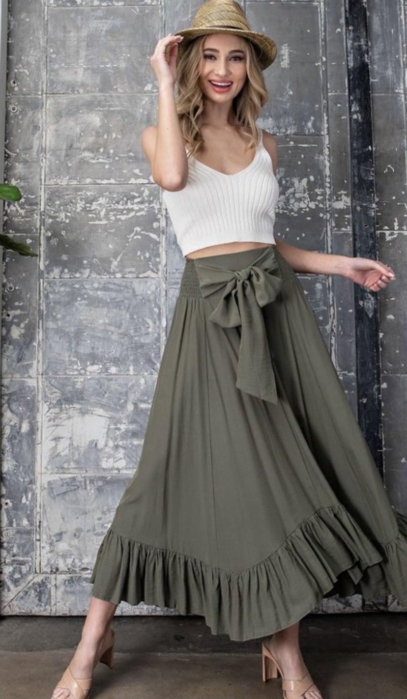 Tie Waist Ruffle Trim Maxi Skirt