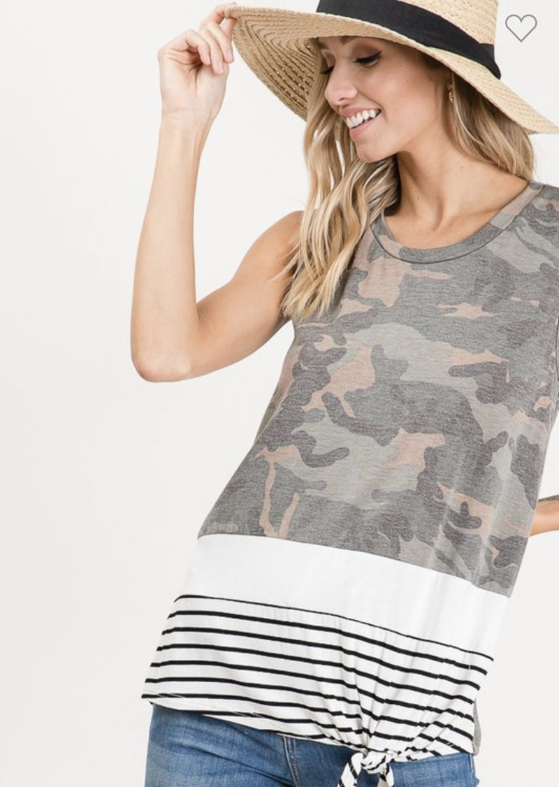 LETS GET AWAY TOGETHER CAMO PRINT KNOTTED TANK