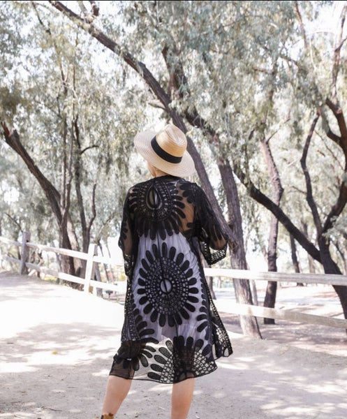 Bohemian Lace Embroidered Kimono