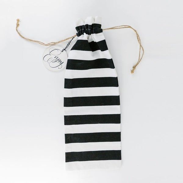 """Black and White Linen Wine Bags with """"Enjoy"""" Wood Tag"""