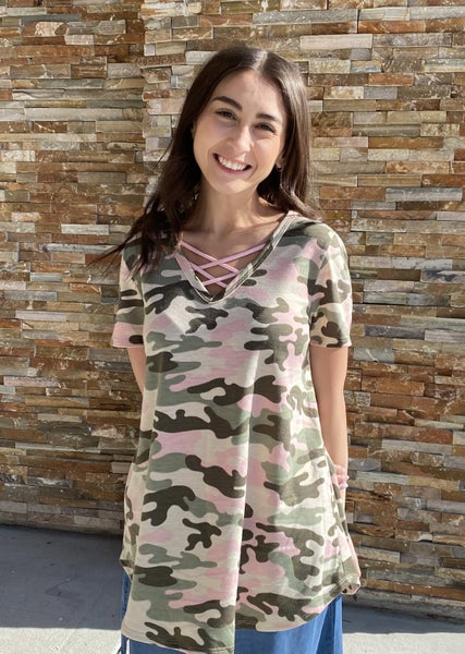 TAUPE & PINK CAMO TOP WITH CRISS CROSS DETAIL