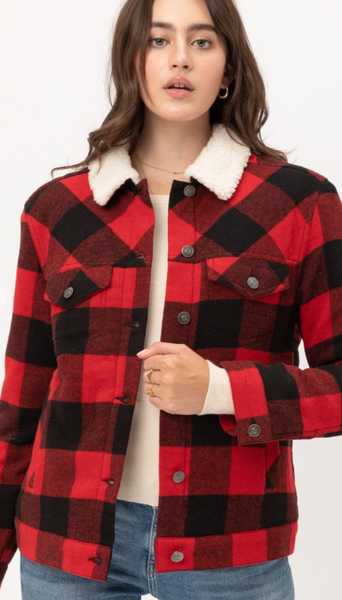 RED BUFFALO CHECK JACKET WITH WOOL LINING