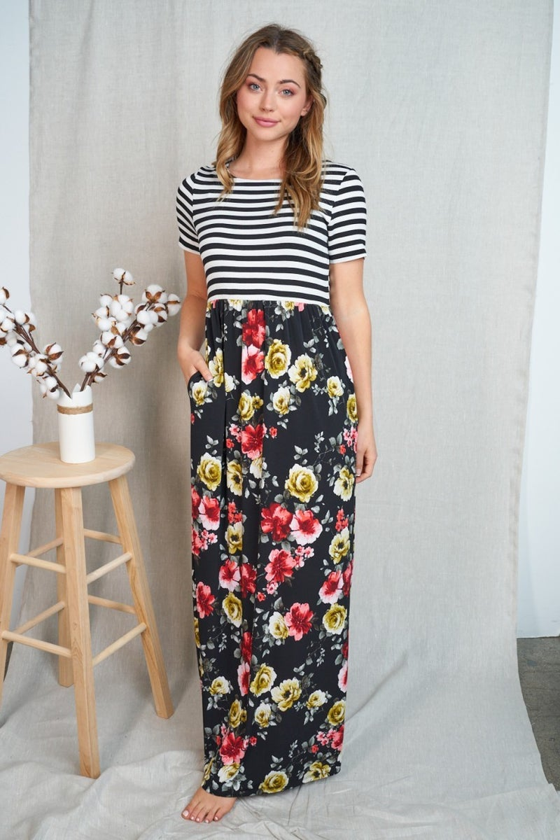 Floral & Stripes Dream Maxi Dress