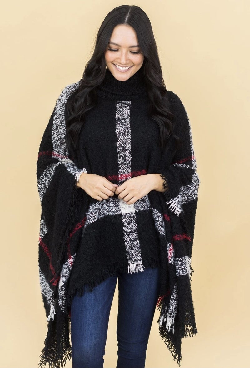 GRAVEL ROAD HOME STRETCH PLAID COWL NECK PONCHO IN BLACK