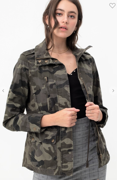 CAMO MILITARY COTTON ANORACK JACKET