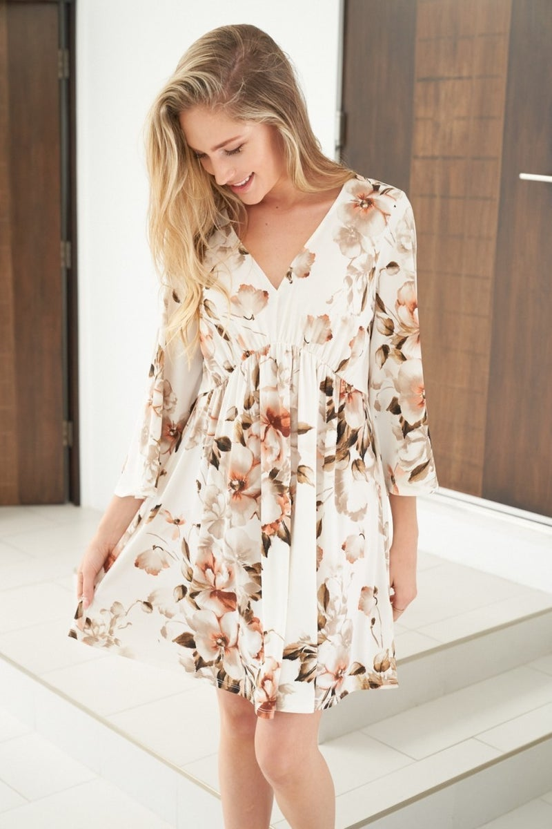 Bell Sleeve Floral Knit Dress