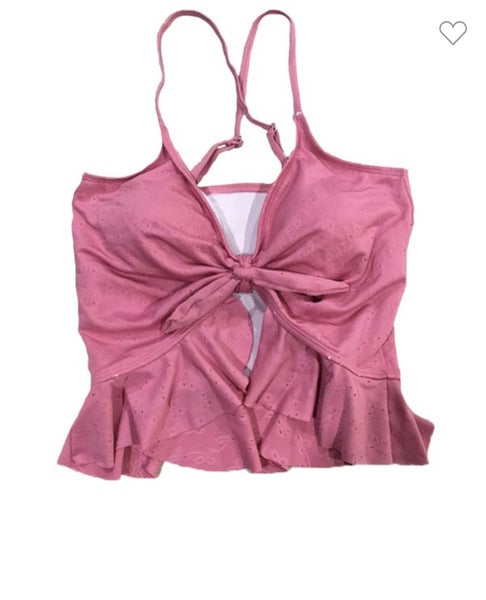 Pink Eyelet Knotted Swim Top