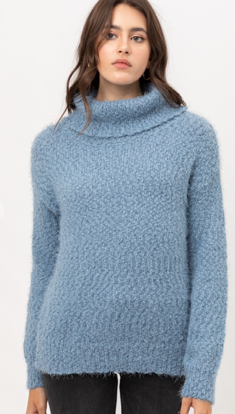 POPCORN KNIT TURTLE NECK TOP