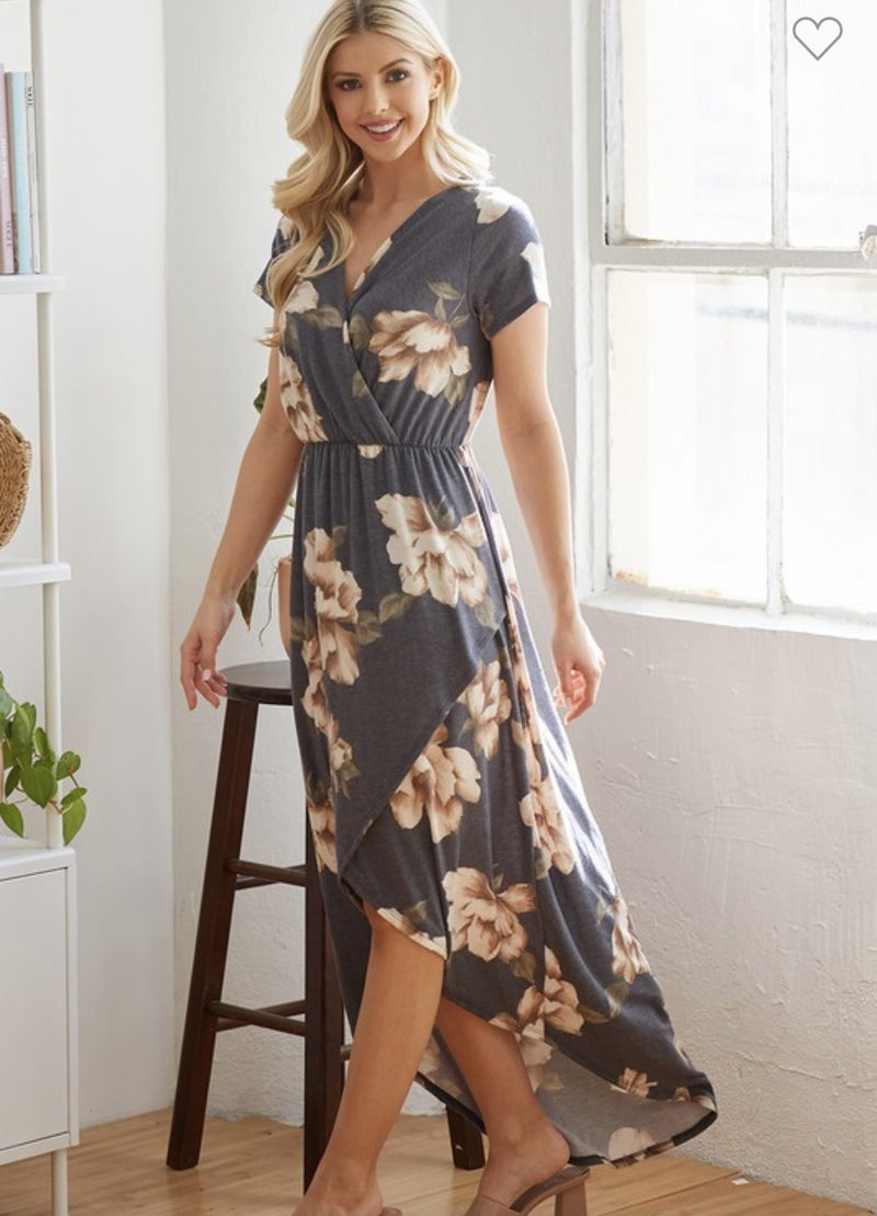 NAVY HIGH-LOW FLORAL DRESS